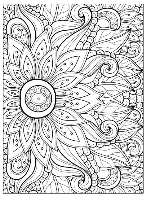 Flower Color Sheet by Flower With Many Petals Flowers Coloring Pages