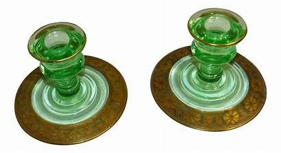 Glass Candle Vaseline Depression Holders Chairish Pair