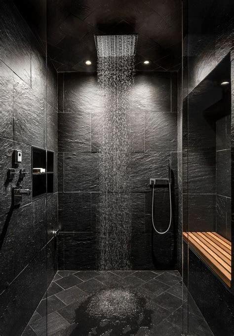 tasteful  refined black bathrooms shelterness