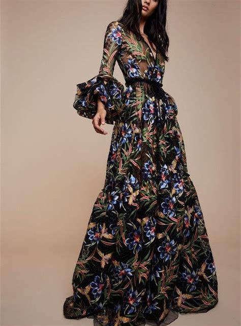 Maxi Acha v collar print sleeved maxi dress in 2019 my