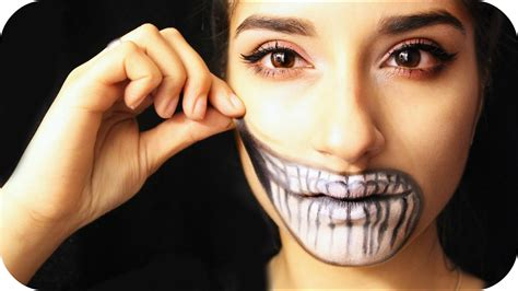 Hochgezogener Skelett Mund - Halloween Make Up - YouTube