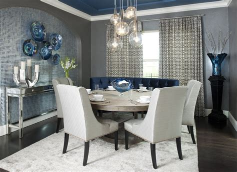 accent wall ideas for modern small dining room ideas with large table glass pendant