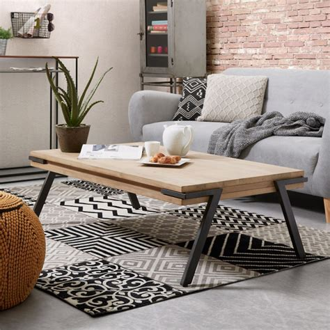 table bois massif table basse rectangle bois massif et m 233 tal spike by drawer