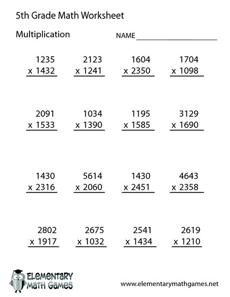 free math worksheets for 5th grade 5th grade math