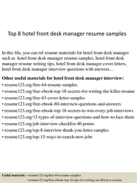 hotel front desk resume sles top 8 hotel front desk manager resume sles
