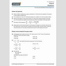 Grade 8 Math Worksheets And Problems Equations  Edugain Usa