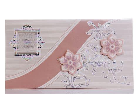 Silver Wedding Card With Peach Flower Design Wedding