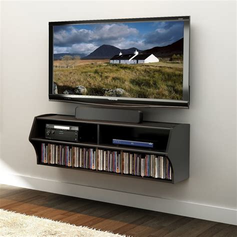 Wall Mounted Tv With Black Lacquered Wooden Media Shelves