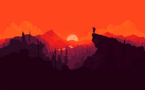 Au35-nature-sunset-simple-minimal-illustration-art-red