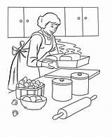 Coloring Cook Cooking Dinner Dibujos Thanksgiving Mum Colouring Colorear Printable Casas Barbie Baking Pintar Coloringhome Colorir Feast Cocinera Valentines Kochen sketch template