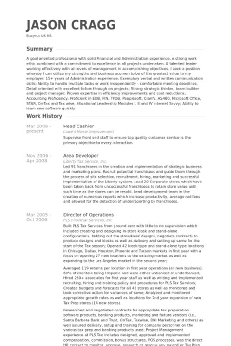 Lowes Cashier Resume by Cashier Resume Sles Visualcv Resume Sles Database