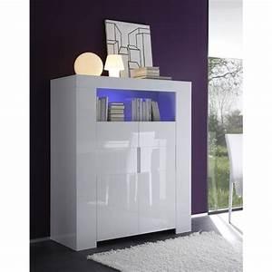 Meuble haut laque blanc 2 portes eos mooviin for Deco cuisine avec buffet haut salle a manger