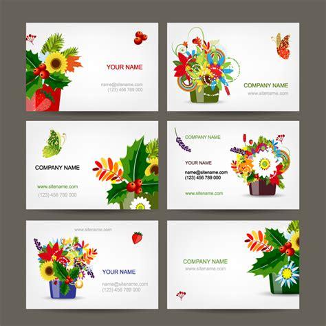 beautiful flowers business card vector  vector