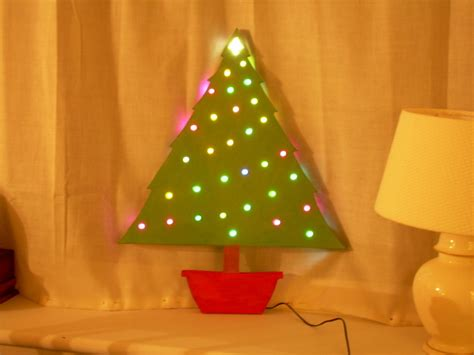 wooden tree with colour changing lights 14