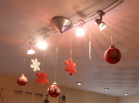 christmas baubles ceiling decorations wintery