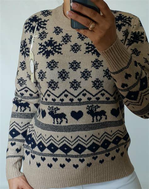 € 11.00 Silts adīts džemperis ar rakstiem ,izmērs 40/42 ...