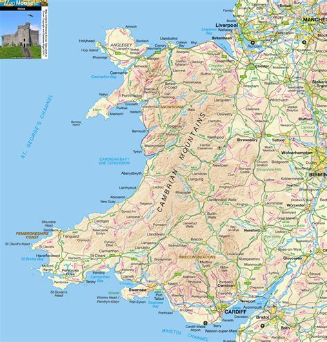 Wales Offline Map, Including Anglesey, Snowdonia