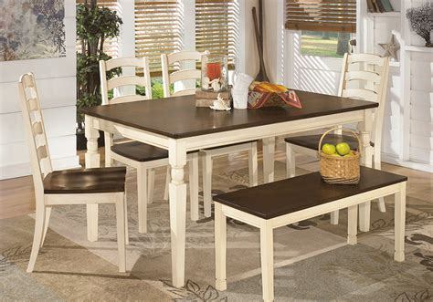 Whitesburg Rectangular Dining Table 4 Side Chairs & Bench