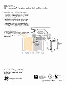Download Free Pdf For Ge Monogram Zbd7920pss Dishwasher Manual