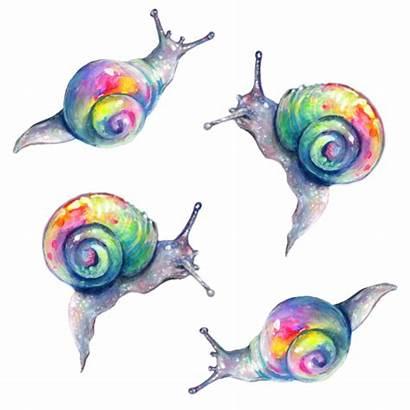Rainbow Deviantart Snails Snail Tanyashatseva Watercolor Pattern