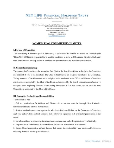 committee charter template nlf nominating committee charter 2015
