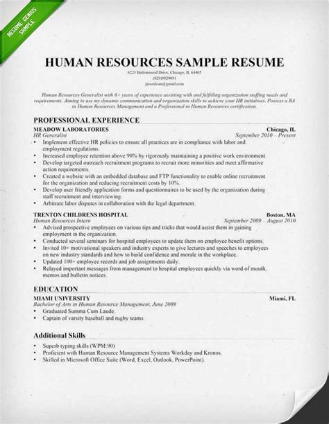 Human Resources Resume Format by Human Resources Hr Resume Sle Writing Tips
