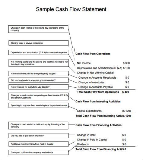 personal cash flow statement 13 sle flow statements sle templates