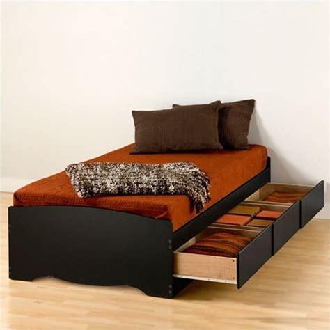 prepac sonoma black twin xl platform storage bed  drawers bbx