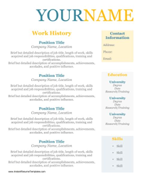 worker resume no dates template
