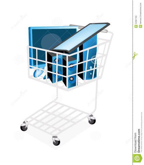 ensemble d ordinateur de bureau dans le caddie photos stock image 34387793