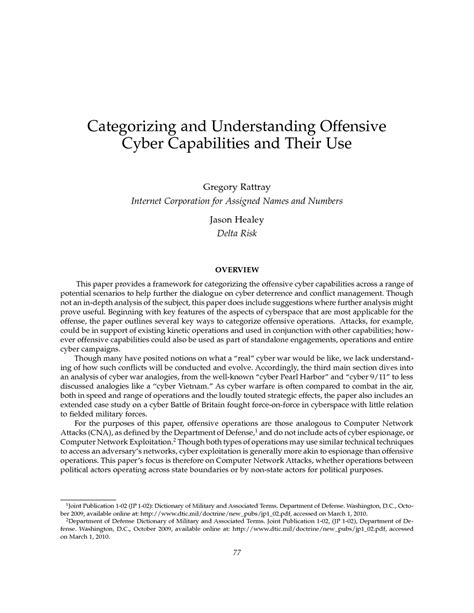 commandant reading list book report template categorizing and understanding offensive cyber