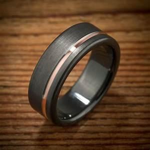Buy a Custom Made Black Zirconium Rose Gold Wedding Band ...