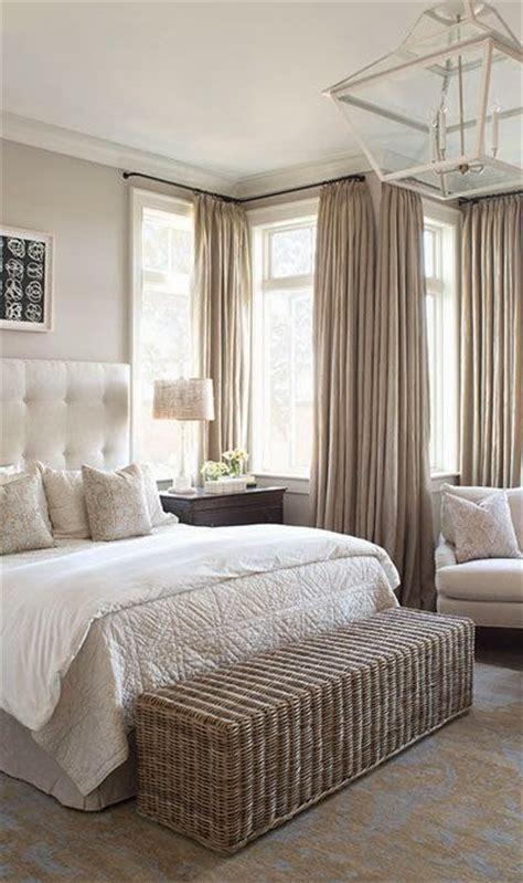 neutral calming master bedroom beige tufted
