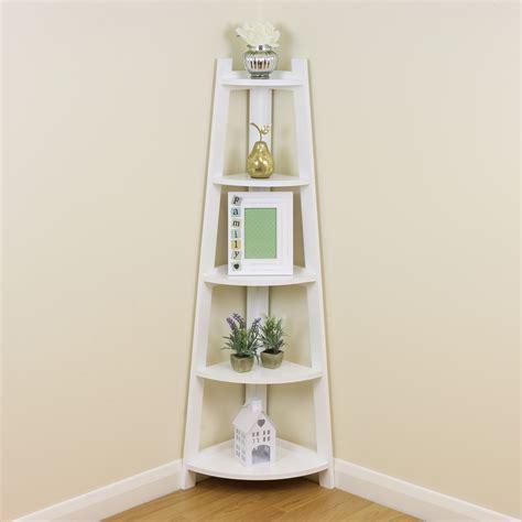 White 5 Tier Corner Shelfshelving Unit Stand Home