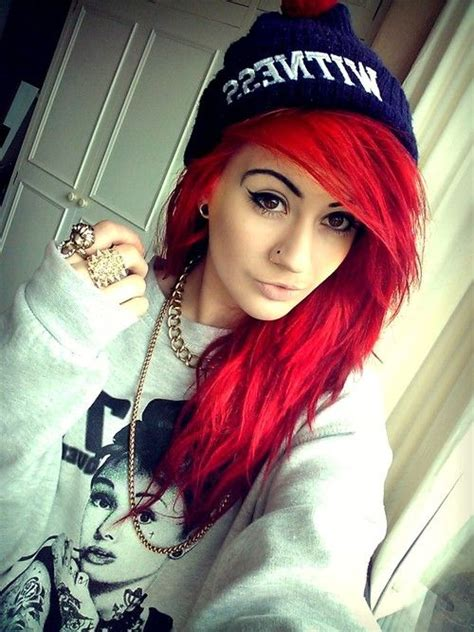 Pretty Bright Red Hair Plugs Red Hair Gauges Scene Girl