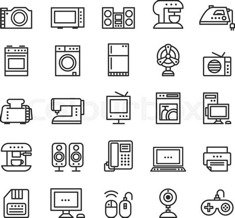 home appliances  equipment icons stock vector