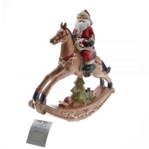 gisela graham santa   rocking horse christmas decoration