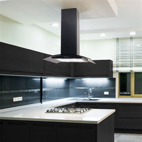 kitchen island extractor fans 70cm island cooker curved glass black
