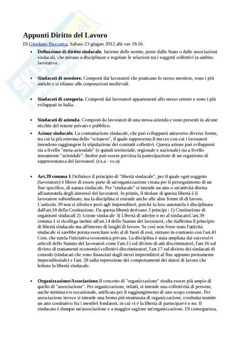diritto sindacale persiani riassunto esame diritto lavoro prof pessi libro