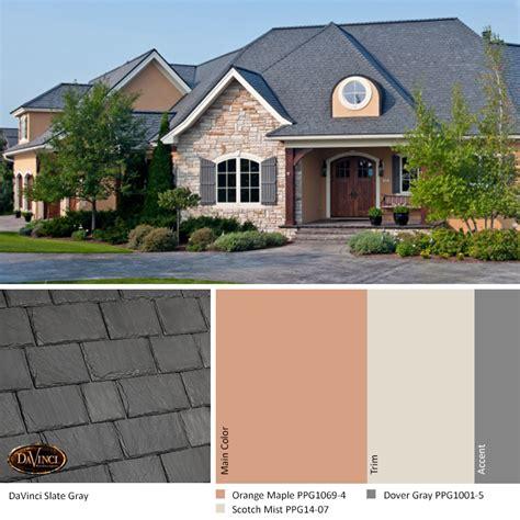exterior color scheme slate gray davinci slate roof
