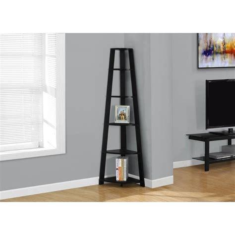 Corner Etageres by 5 Shelf Corner Etagere In Black I 2499