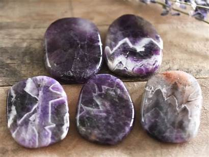 Amethyst Stone Chevron Healing Crystal Cleansing Banded