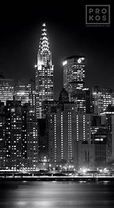 Panoramic View of Manhattan and Chrysler Building at Night ...