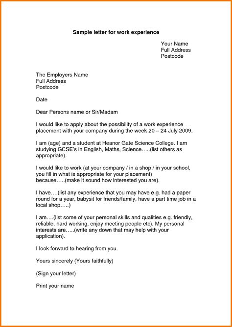 Exle Of Student Resume Cover Letter by Experience Letter Format For Work Appeal Letters Sle