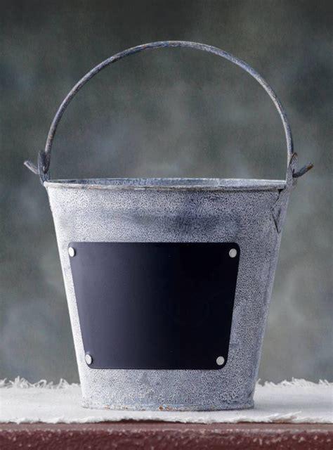 zinc bucket  chalkboard label