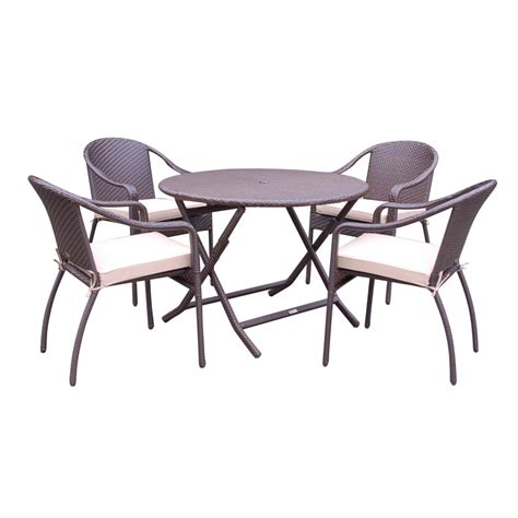 5pcs cafe curved back chairs and folding wicker table