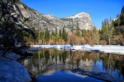Mirror Lake In Yosemite Winter And Summer California
