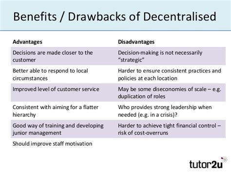 Benefits And Drawbacks Of Purchasing by Centralised Decentralised Decision
