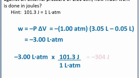 chemistry  calculating pressure volume work youtube