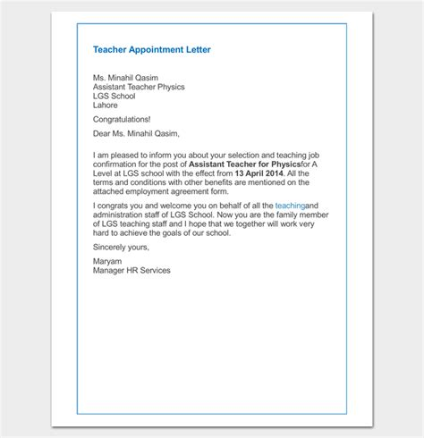 teacher appointment letter  sample  word